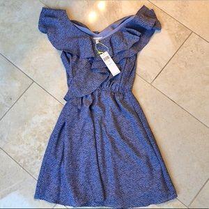 BCBGeneration purple ruffle sleeve mini dress XS